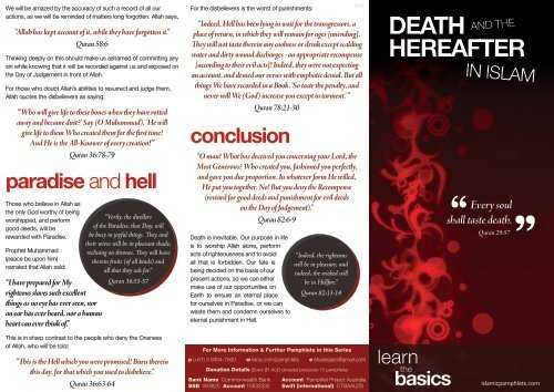 Brochure - Death and the Hereafter in Islam