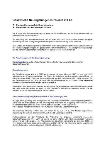 Gesetzliche Neuregelungen zur Rente mit 67 - VVS® GmbH