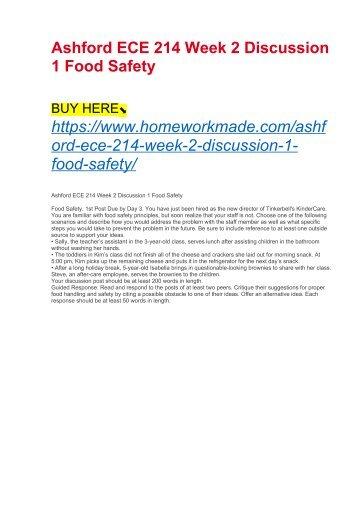 Ashford ECE 214 Week 2 Discussion 1 Food Safety
