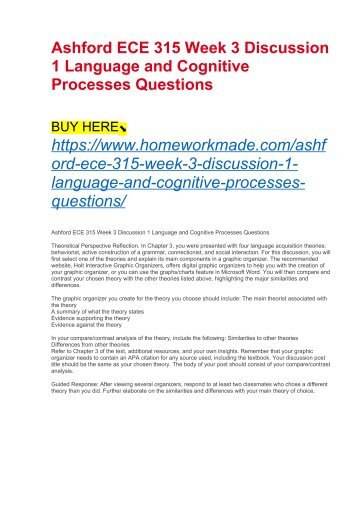 Ashford ECE 315 Week 3 Discussion 1 Language and Cognitive Processes Questions
