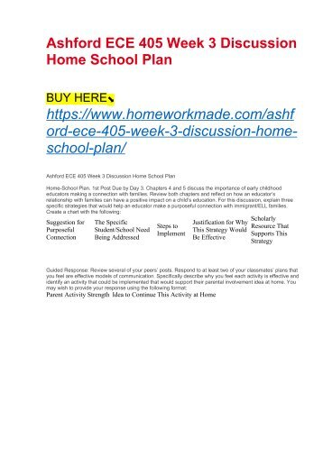 Ashford ECE 405 Week 3 Discussion Home School Plan