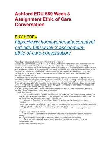 Ashford EDU 689 Week 3 Assignment Ethic of Care Conversation