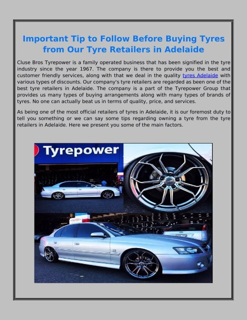 Things to Consider Before Choosing the Right Tyres for Your Vehicle in Adelaide