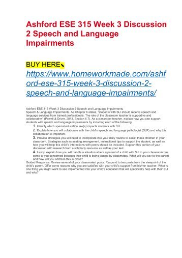 Ashford ESE 315 Week 3 Discussion 2 Speech and Language Impairments