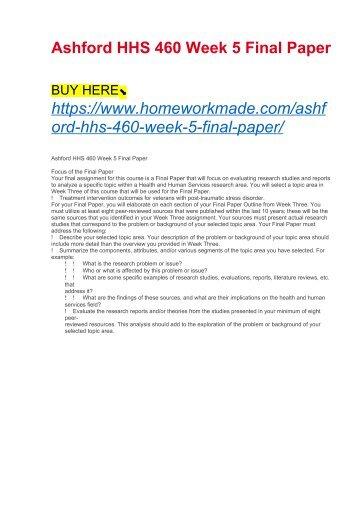 Ashford HHS 460 Week 5 Final Paper
