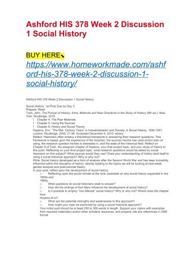 Ashford HIS 378 Week 2 Discussion 1 Social History