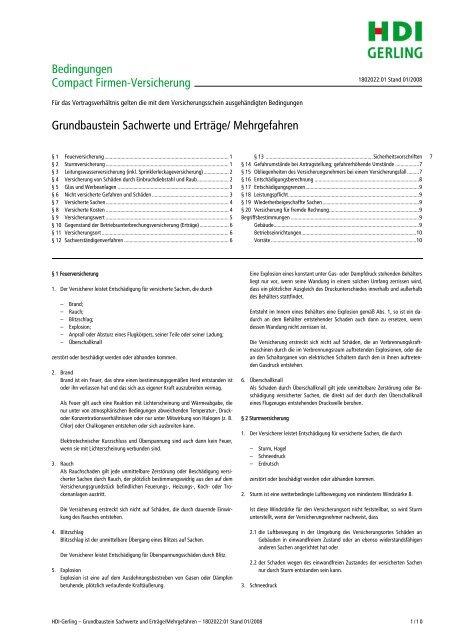Grundbaustein Sachwerte und Erträge/ Mehrgefahren