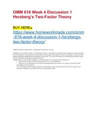OMM 618 Week 4 Discussion 1 Herzberg's Two-Factor Theory
