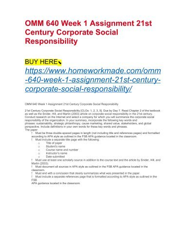 OMM 640 Week 1 Assignment 21st Century Corporate Social Responsibility