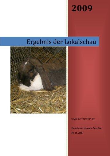 Ergebnisse der Lokalschau 2009 - Kleintierzuchtverein Dornhan