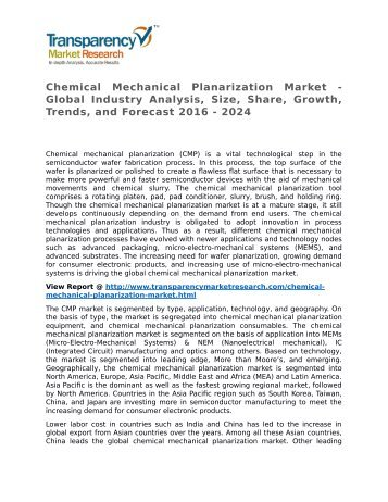 Chemical Mechanical Planarization Market - Global Industry Analysis, Size, Share, Growth, Trends, and Forecast 2016 - 2024