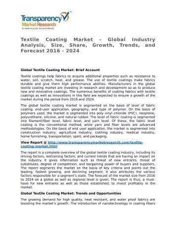 Textile Coating Market - Global Industry Analysis, Size, Share, Growth, Trends, and Forecast 2016 - 2024