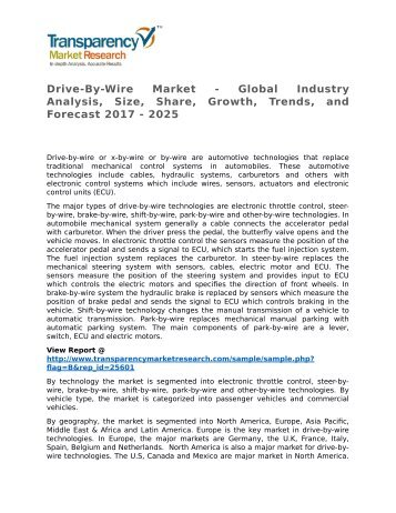 Drive-By-Wire Market - Global Industry Analysis, Size, Share, Growth, Trends, and Forecast 2017 - 2025
