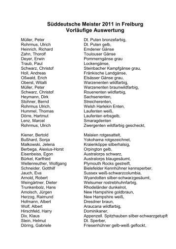 Süddeutsche Meister 2011 in Freiburg Vorläufige Auswertung