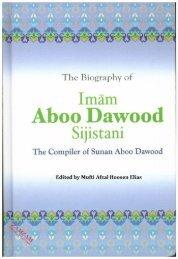 The Biography Of Imam Abu Dawood - Edited By Mufti Afzal Hoosen Elias