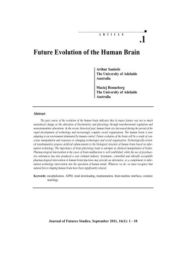 1 Future Evolution of the Human Brain - Journal of Futures Studies