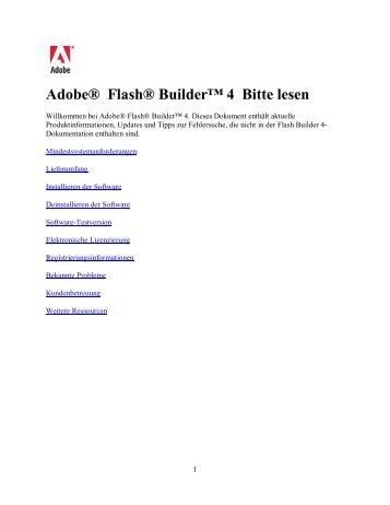 Adobe Flash Builder 4 - Bitte lesen