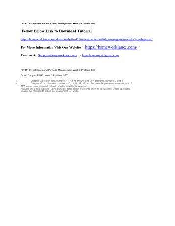 FIN 451 Investments and Portfolio Management Week 5 Problem Set