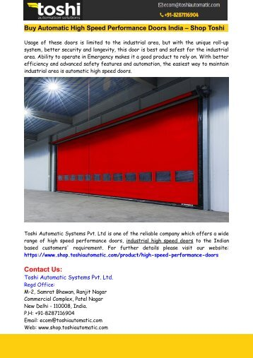 Buy Automatic High Speed Performance Doors India – Shop Toshi