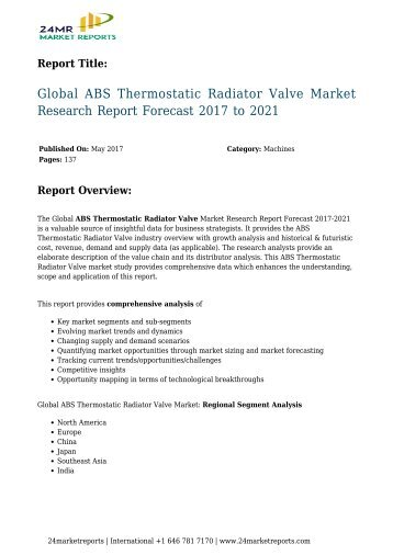 Global ABS Thermostatic Radiator Valve Market Research Report Forecast 2017 to 2021