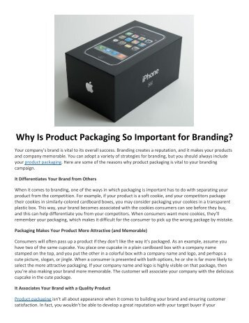 Why Is Product Packaging So Important for Branding?