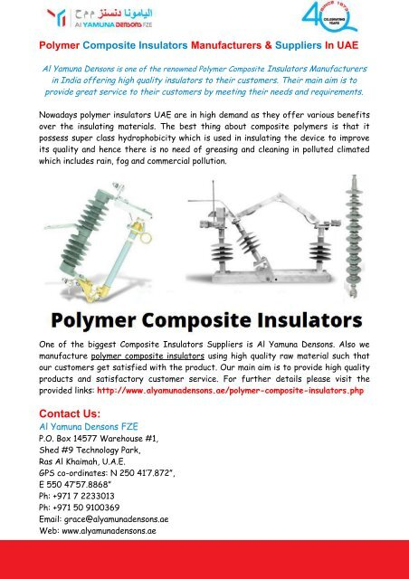 Polymer Composite Insulators Manufacturers & Suppliers In