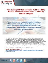 Fast Curing Nitrile Butadiene Rubber (NBR) Market Research Report 2014 – 2025 By Radiant Insights