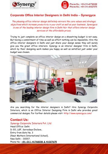 Corporate Office Interior Designers in Delhi India – Synergyce