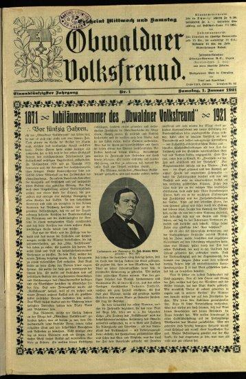 Obwaldner Volksfreund 1921