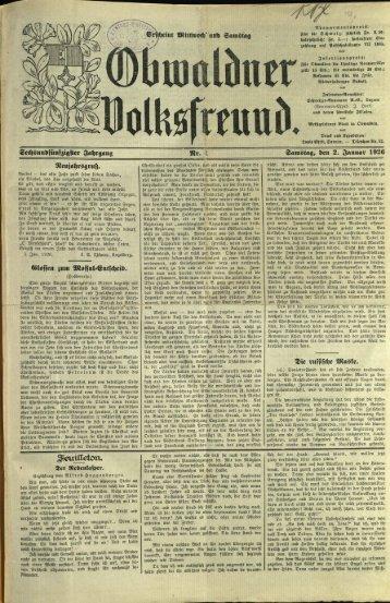 Obwaldner Volksfreund 1926