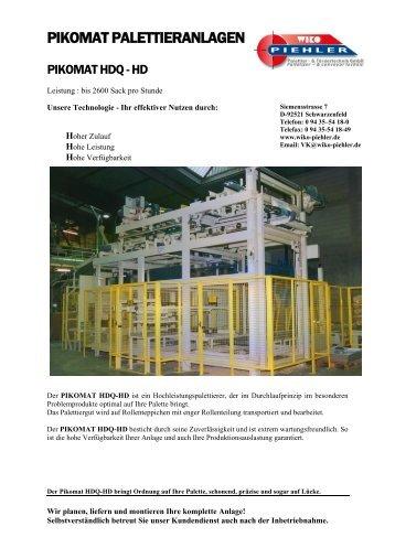 Prospekt HDQ-HD - WIKO-Piehler Palettier- & Fördertechnik GmbH