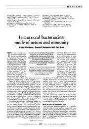 Lactococcal bacteriocins: mode of action and immunitv Koen - GBB