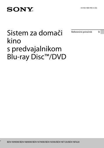 Sony BDV-N990W - BDV-N990W Guide de référence Slovénien