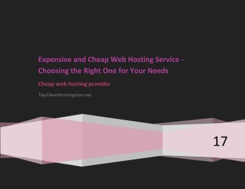 Expensive and Cheap Web Hosting Service - Choosing The Right One For Your Needs