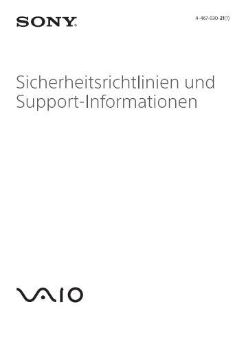 Sony SVT1313M1R - SVT1313M1R Documents de garantie Allemand