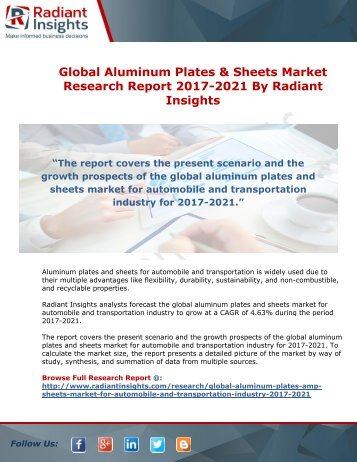Global Aluminum Plates & Sheets Market Research Report 2017-2021 By Radiant Insights