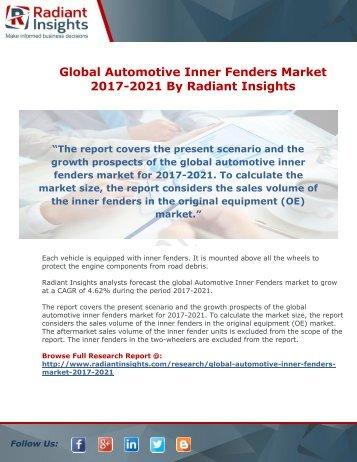 Global Automotive Inner Fenders Market 2017-2021 By Radiant Insights