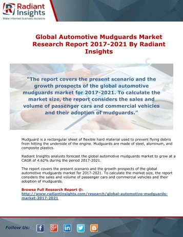 Global Automotive Mudguards Market Research Report 2017-2021 By Radiant Insights