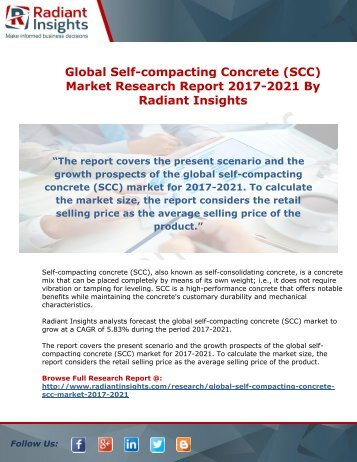 Global Self-compacting Concrete (SCC) Market Research Report 2017-2021