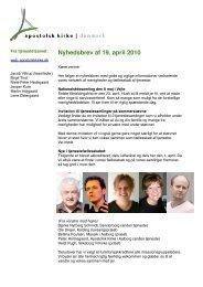 Nyhedsbrev af 19. april 2010 - Apostolsk Kirke i Danmark