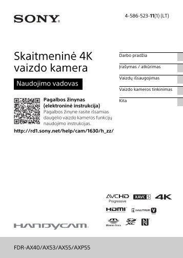 Sony FDR-AX53 - FDR-AX53 Consignes d'utilisation Lituanien