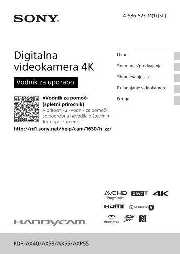 Sony FDR-AX53 - FDR-AX53 Consignes d'utilisation Slovénien