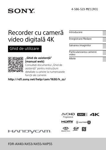 Sony FDR-AX53 - FDR-AX53 Consignes d'utilisation Roumain