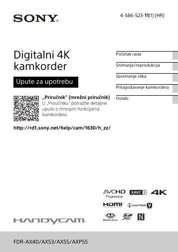 Sony FDR-AX53 - FDR-AX53 Consignes d'utilisation Croate