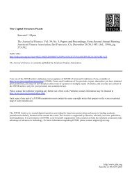The Capital Structure Puzzle Stewart C. Myers The Journal of ...