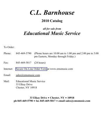 CL Barnhouse 2010 Catalog all for sale from Educational Music - EMS