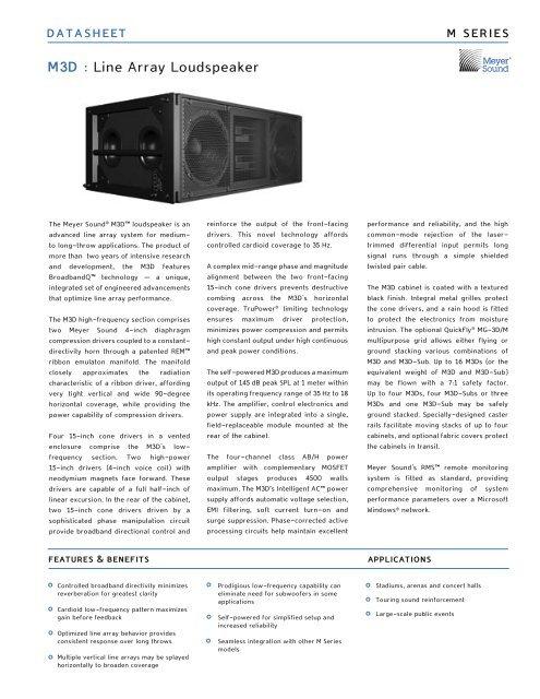 M3D : Line Array Loudspeaker - Meyer Sound Laboratories Inc