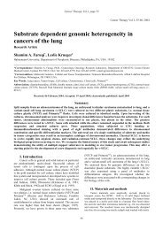 Substrate dependent genomic heterogeneity in ... - Cancer Therapy