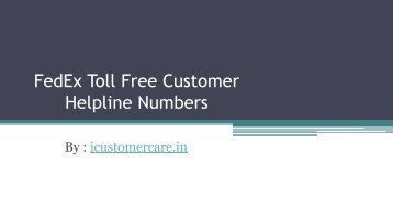FedEx Toll Free Customer Helpline Numbers
