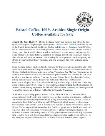 Bristol Coffee, 100% Arabica Single Origin Coffee Available for Sale